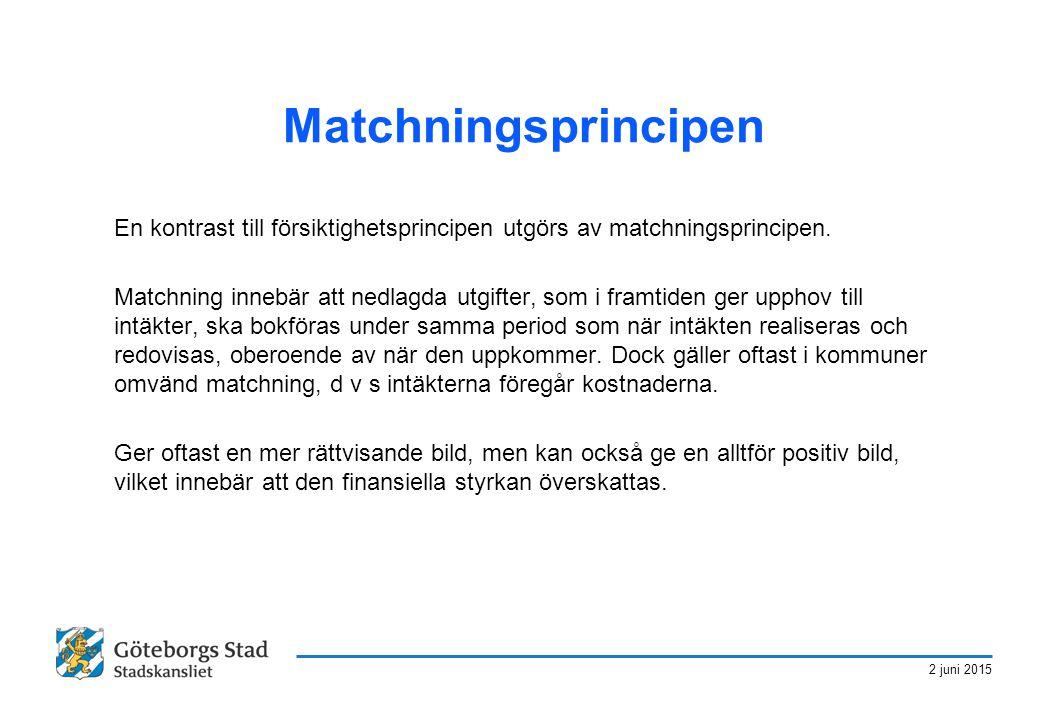 Matchningsprincipen En kontrast till försiktighetsprincipen utgörs av matchningsprincipen.