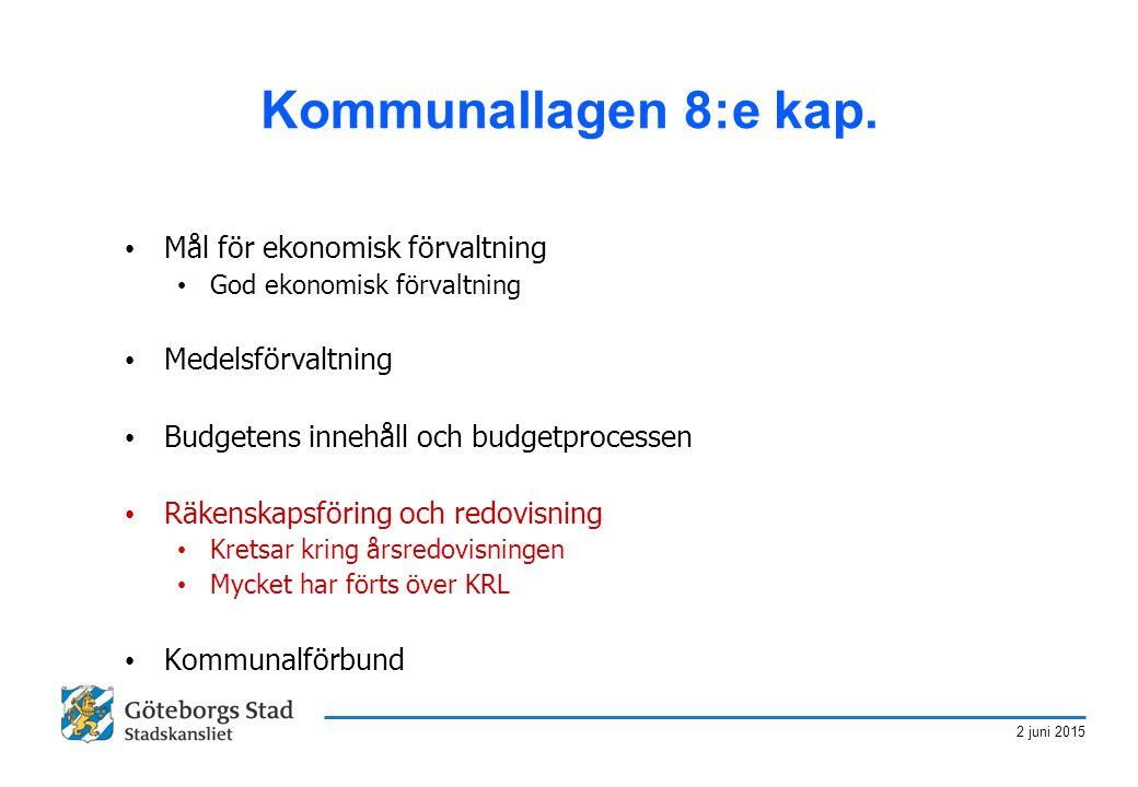 Kommunallagen 8:e kap. Mål för ekonomisk förvaltning Medelsförvaltning