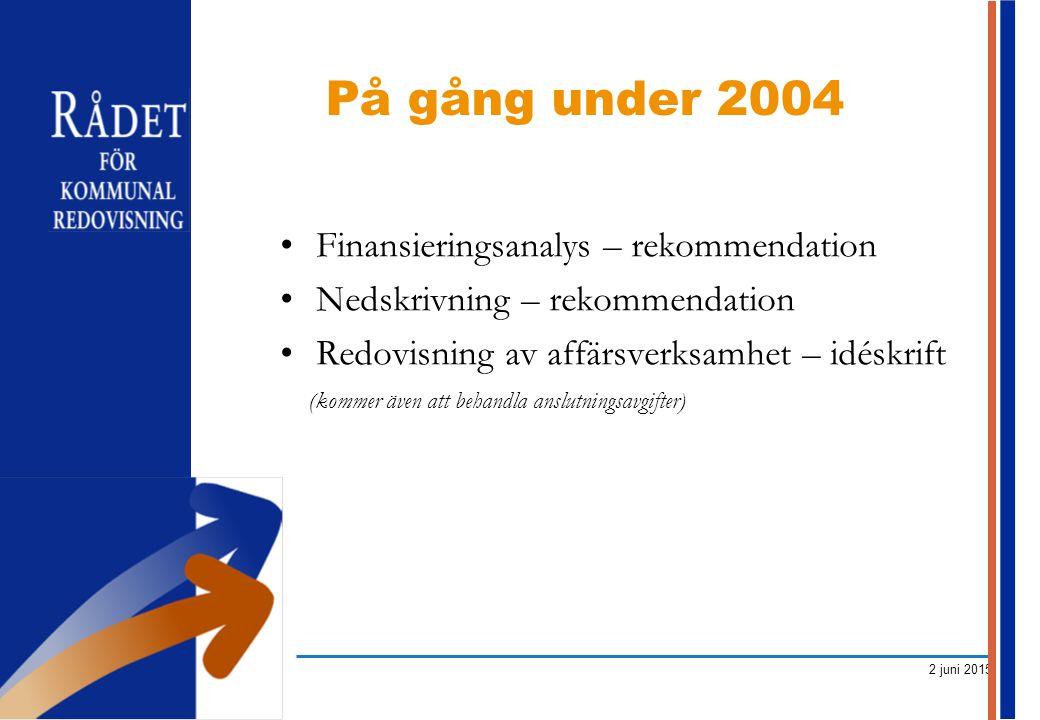 På gång under 2004 Finansieringsanalys – rekommendation