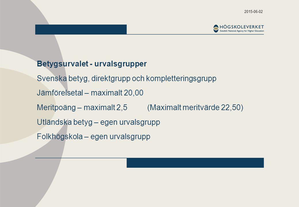 Betygsurvalet - urvalsgrupper