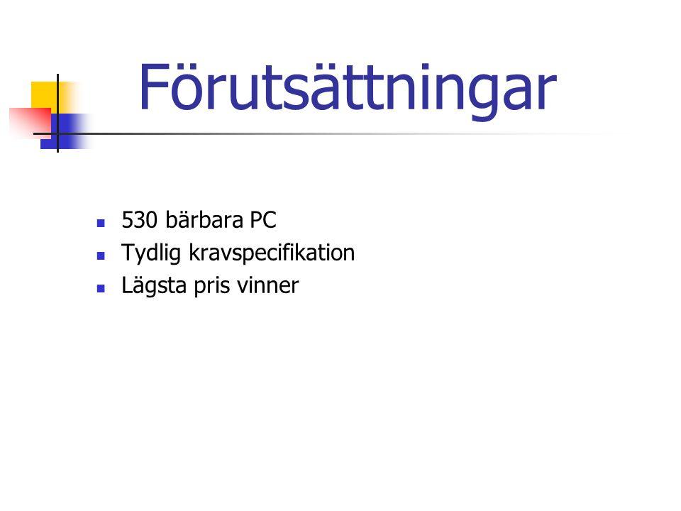 Förutsättningar 530 bärbara PC Tydlig kravspecifikation