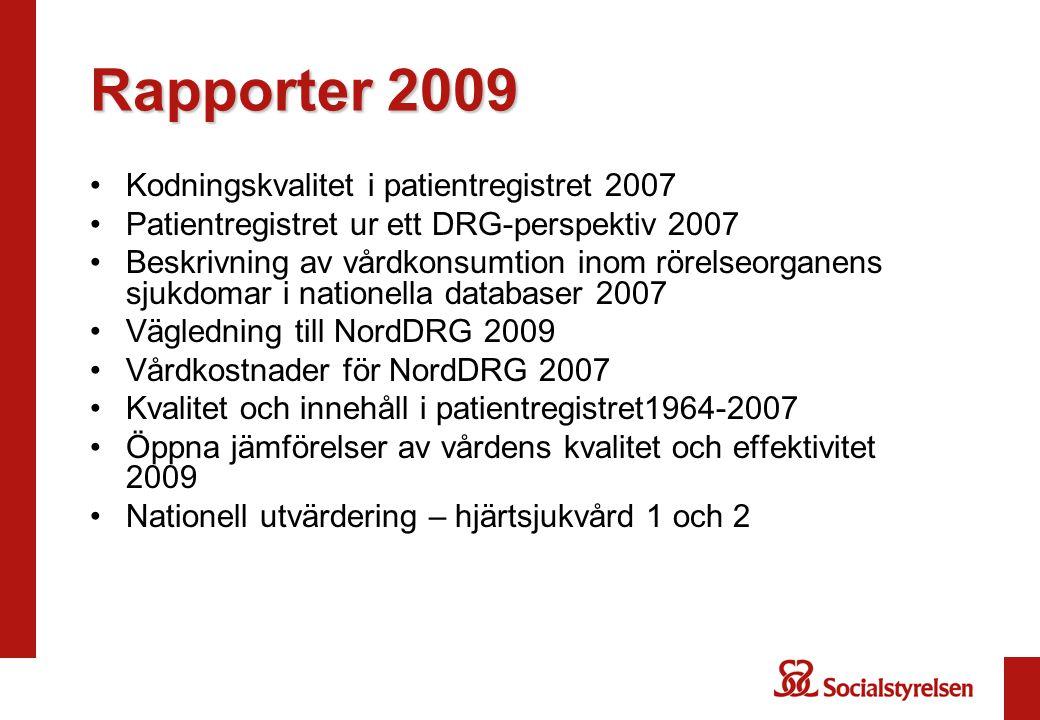 Rapporter 2009 Kodningskvalitet i patientregistret 2007