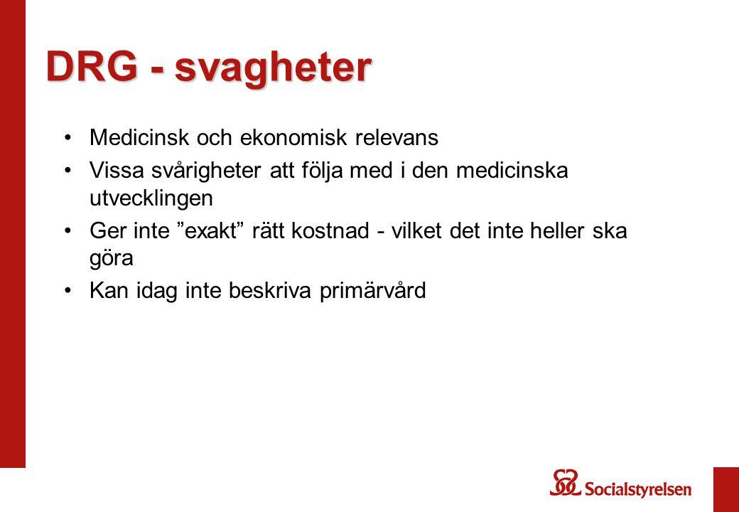 DRG - svagheter Medicinsk och ekonomisk relevans