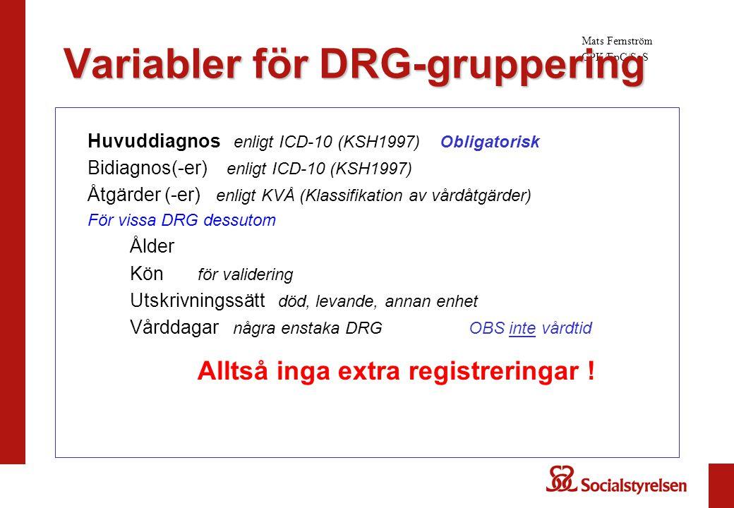 Variabler för DRG-gruppering