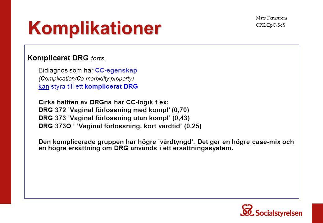 Komplikationer Komplicerat DRG forts. Bidiagnos som har CC-egenskap