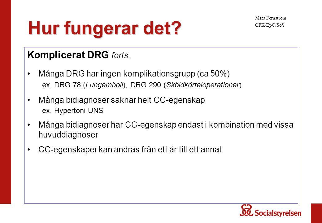 Hur fungerar det Komplicerat DRG forts.