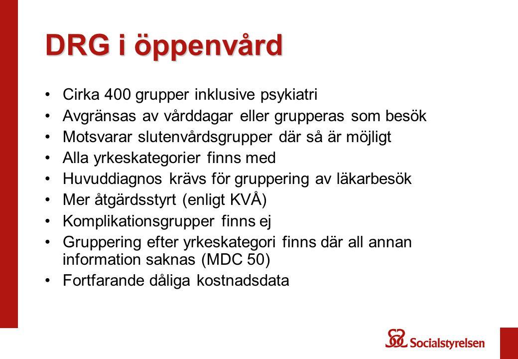 DRG i öppenvård Cirka 400 grupper inklusive psykiatri