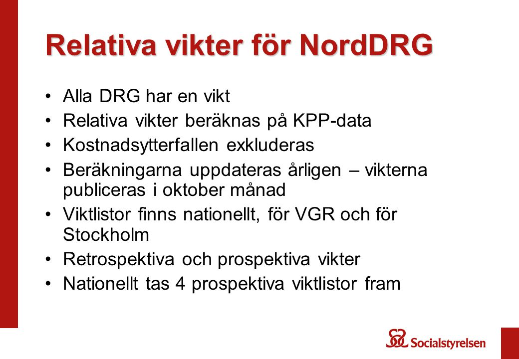Relativa vikter för NordDRG