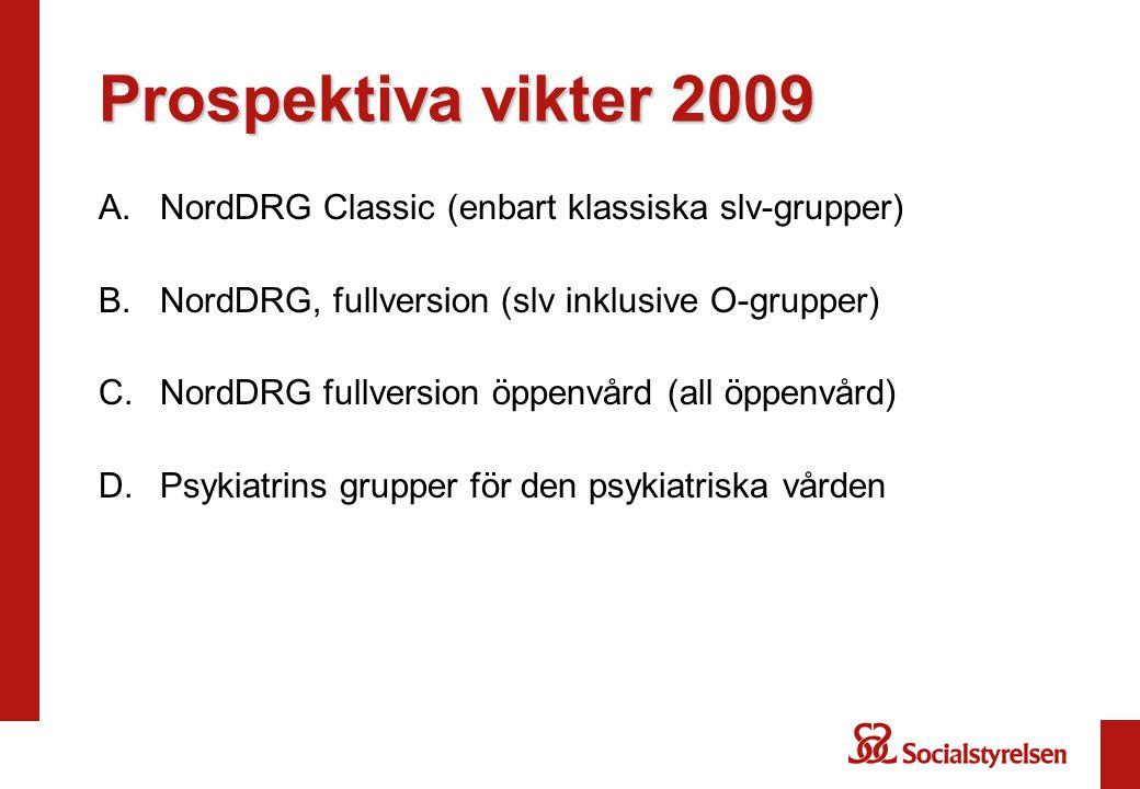 Prospektiva vikter 2009 NordDRG Classic (enbart klassiska slv-grupper)