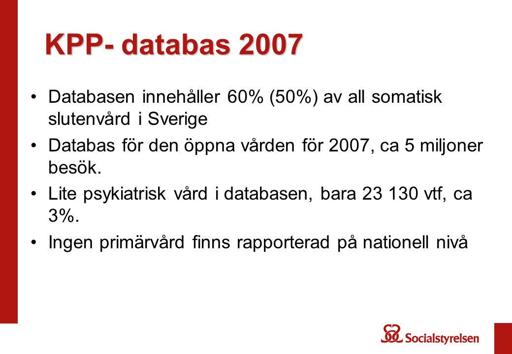 KPP- databas 2007 Databasen innehåller 60% (50%) av all somatisk slutenvård i Sverige. Databas för den öppna vården för 2007, ca 5 miljoner besök.