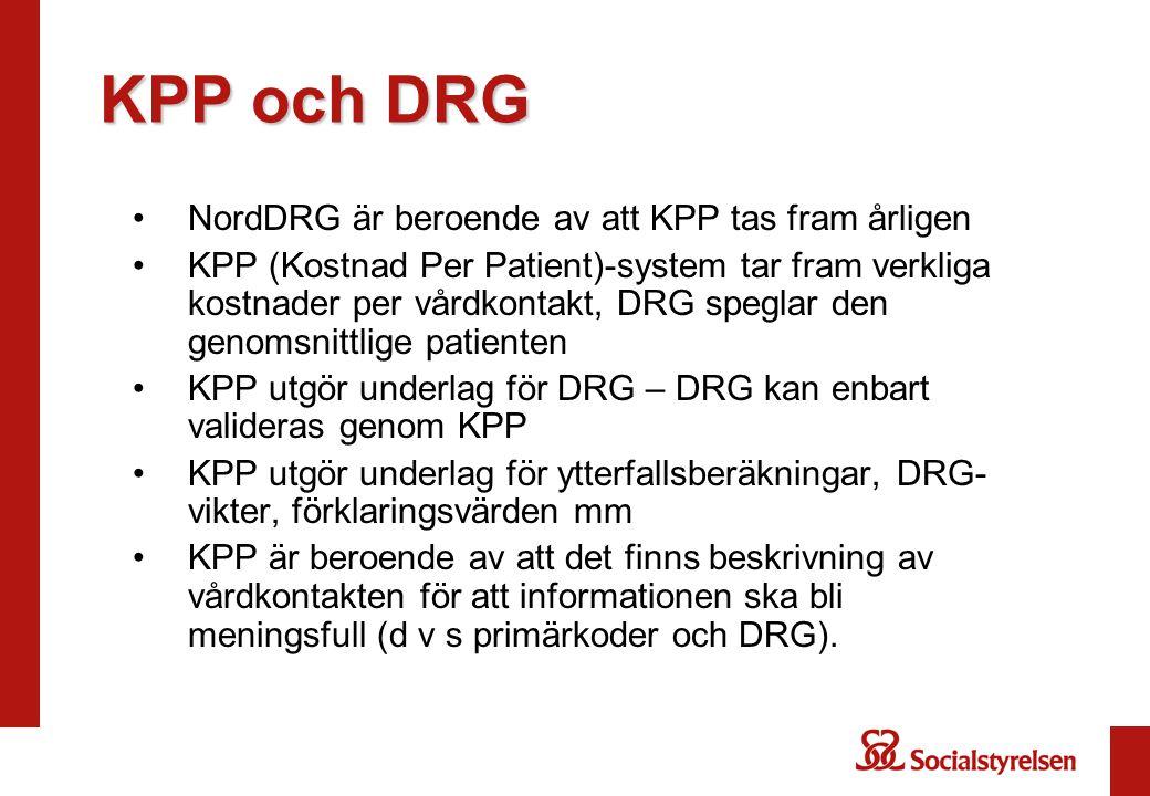 KPP och DRG NordDRG är beroende av att KPP tas fram årligen