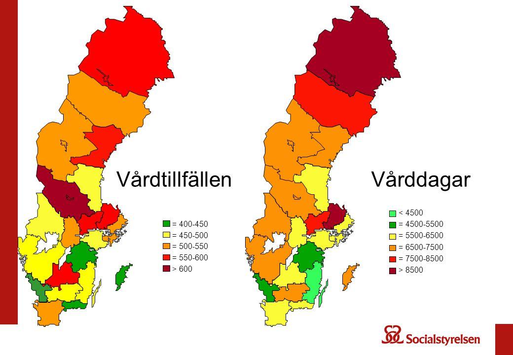 Vårdtillfällen Vårddagar = 550-600 = 500-550 = 450-500 = 400-450