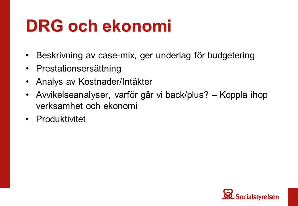 DRG och ekonomi Beskrivning av case-mix, ger underlag för budgetering