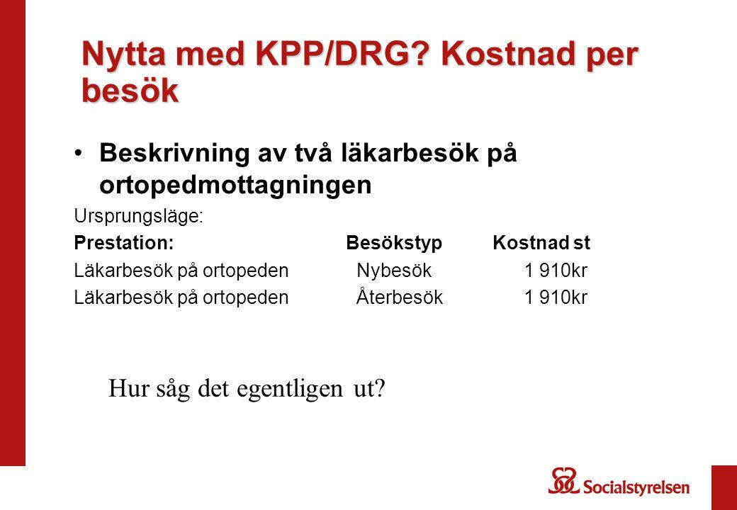 Nytta med KPP/DRG Kostnad per besök
