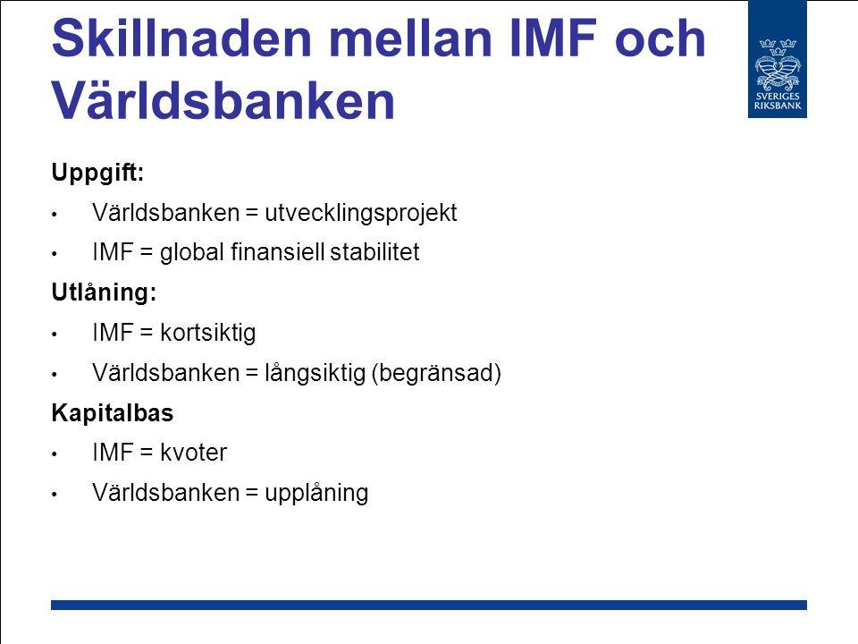 Skillnaden mellan IMF och Världsbanken