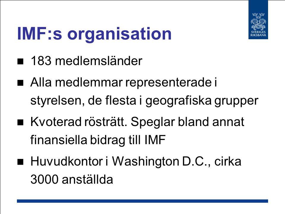 IMF:s organisation 183 medlemsländer