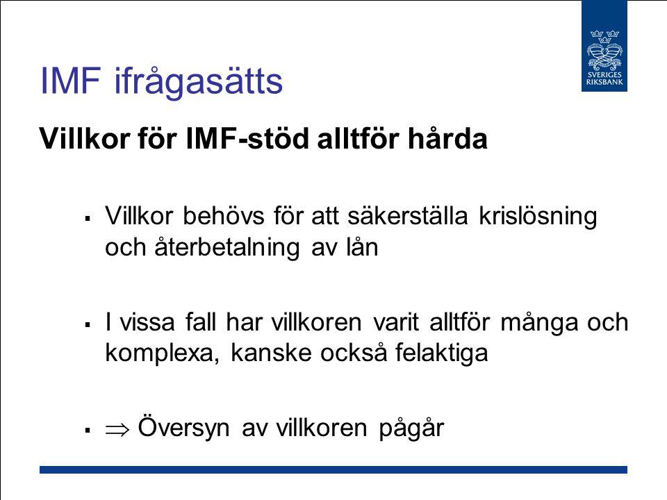 IMF ifrågasätts Villkor för IMF-stöd alltför hårda