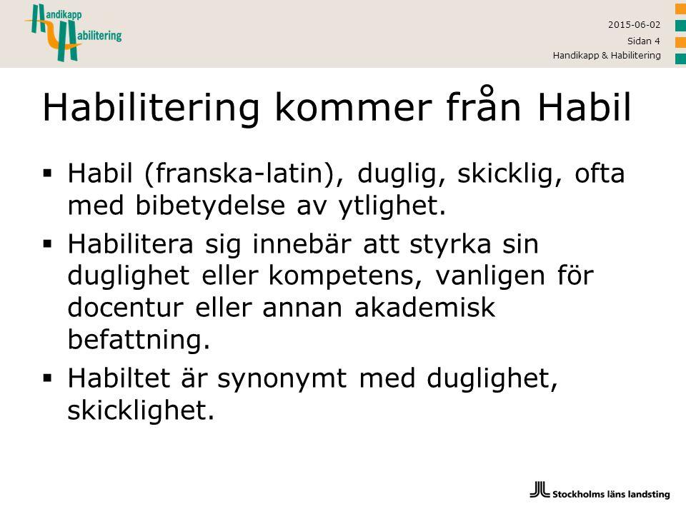 Habilitering kommer från Habil