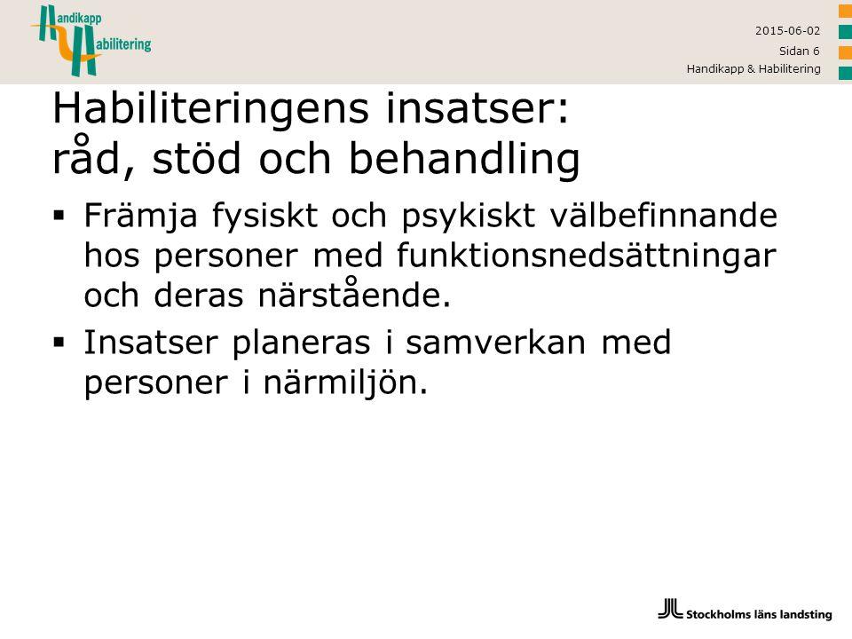 Habiliteringens insatser: råd, stöd och behandling