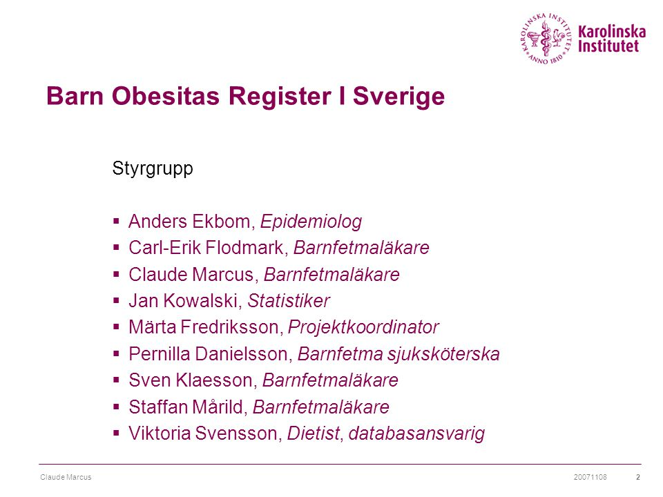 Barn Obesitas Register I Sverige