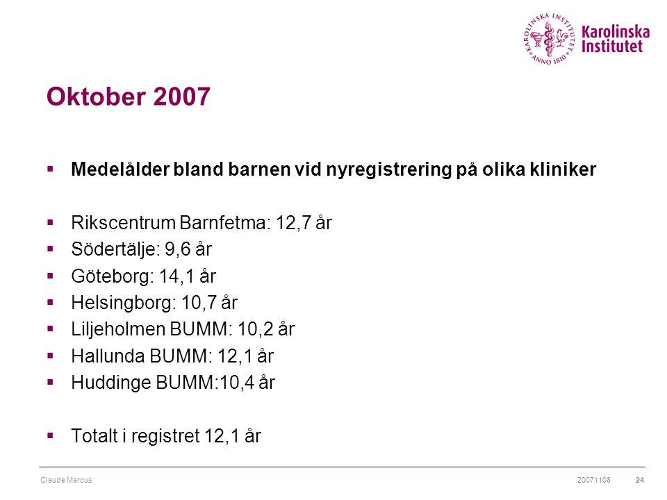 Oktober 2007 Medelålder bland barnen vid nyregistrering på olika kliniker. Rikscentrum Barnfetma: 12,7 år.