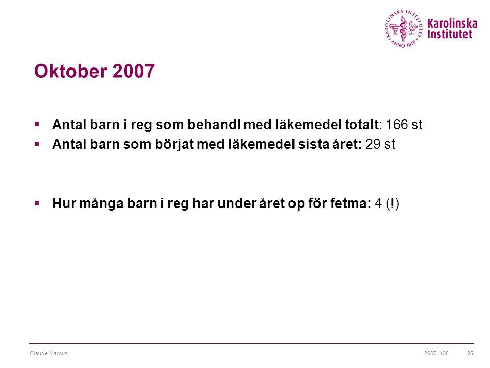 Oktober 2007 Antal barn i reg som behandl med läkemedel totalt: 166 st