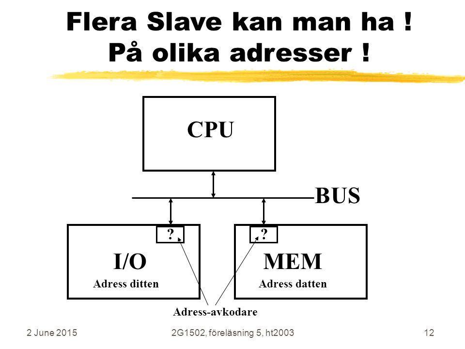Flera Slave kan man ha ! På olika adresser !
