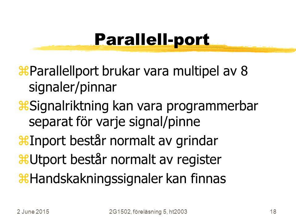 Parallell-port Parallellport brukar vara multipel av 8 signaler/pinnar