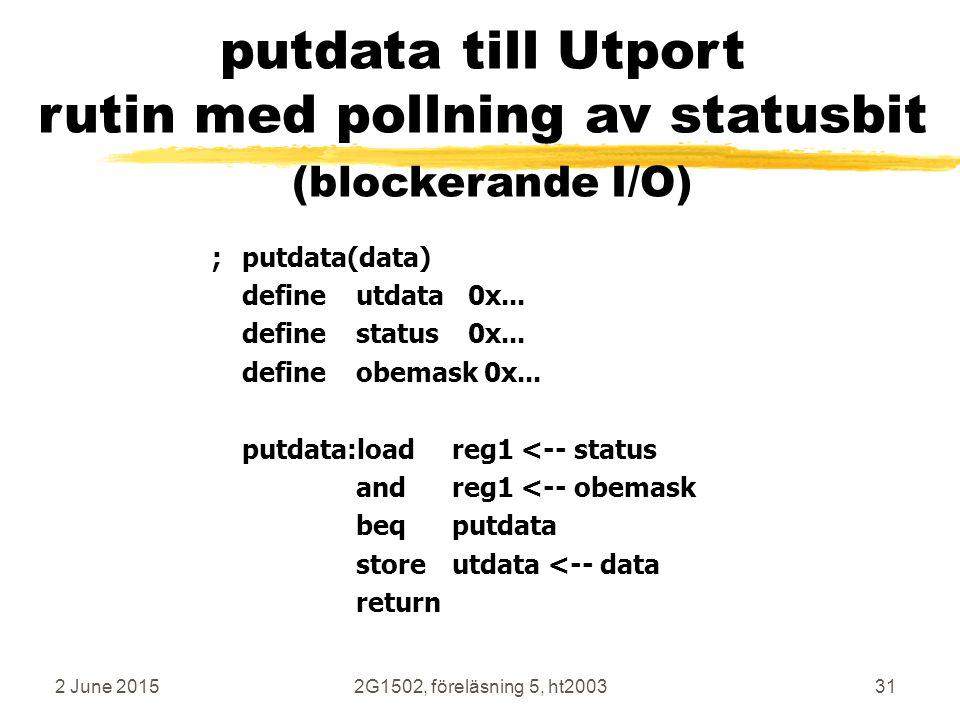 putdata till Utport rutin med pollning av statusbit (blockerande I/O)