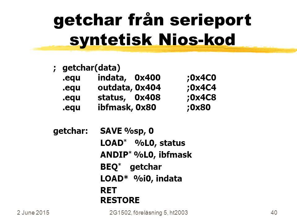 getchar från serieport syntetisk Nios-kod