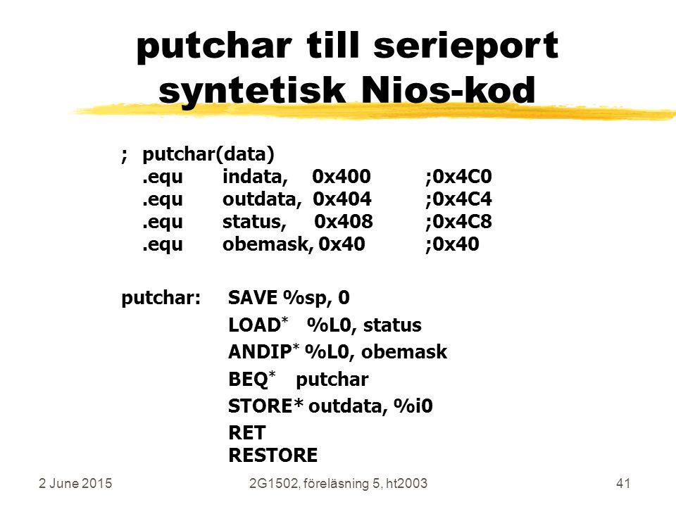 putchar till serieport syntetisk Nios-kod