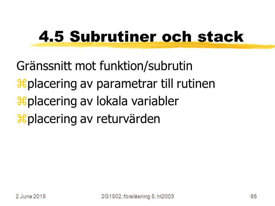 4.5 Subrutiner och stack Gränssnitt mot funktion/subrutin