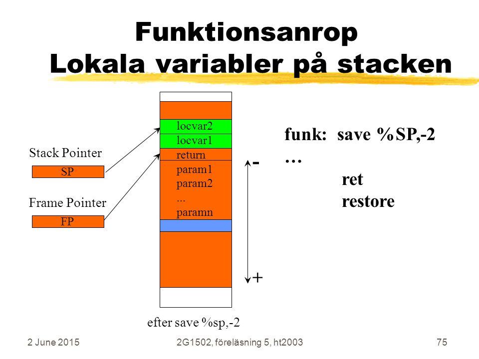 Funktionsanrop Lokala variabler på stacken