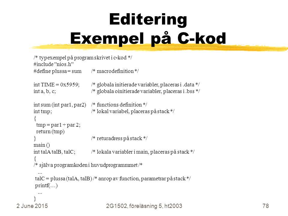 Editering Exempel på C-kod