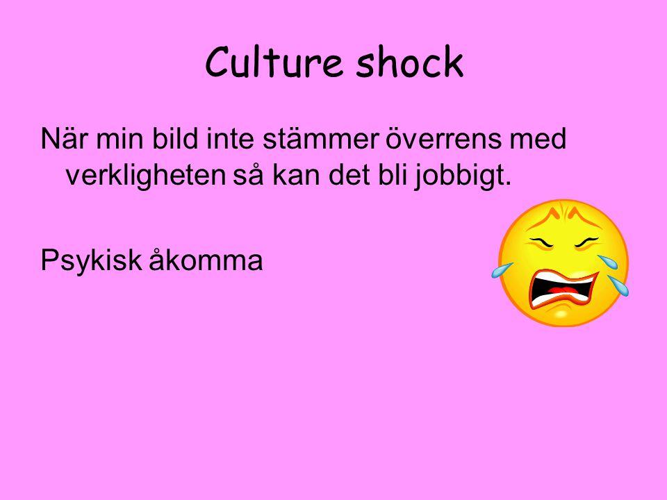 Culture shock När min bild inte stämmer överrens med verkligheten så kan det bli jobbigt.