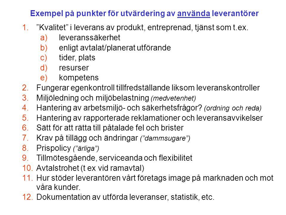Exempel på punkter för utvärdering av använda leverantörer