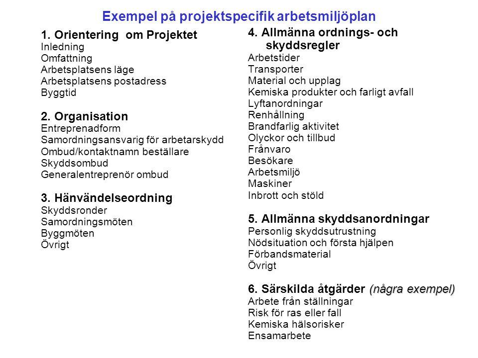 Exempel på projektspecifik arbetsmiljöplan