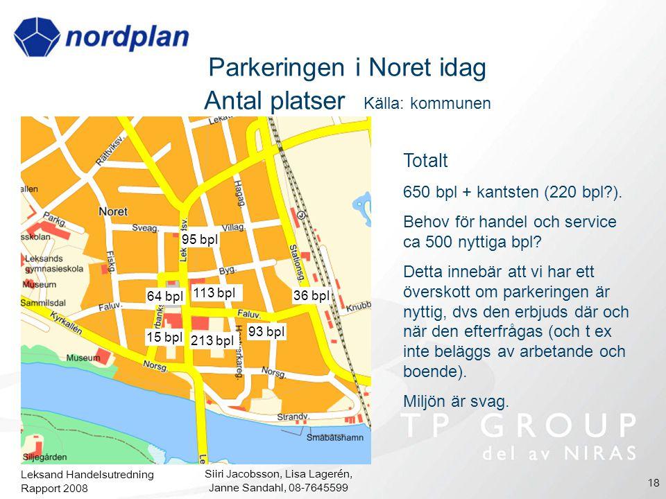 Parkeringen i Noret idag Antal platser Källa: kommunen