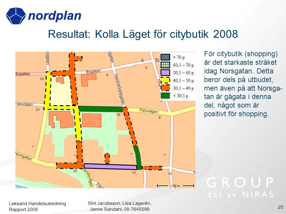 Resultat: Kolla Läget för citybutik 2008
