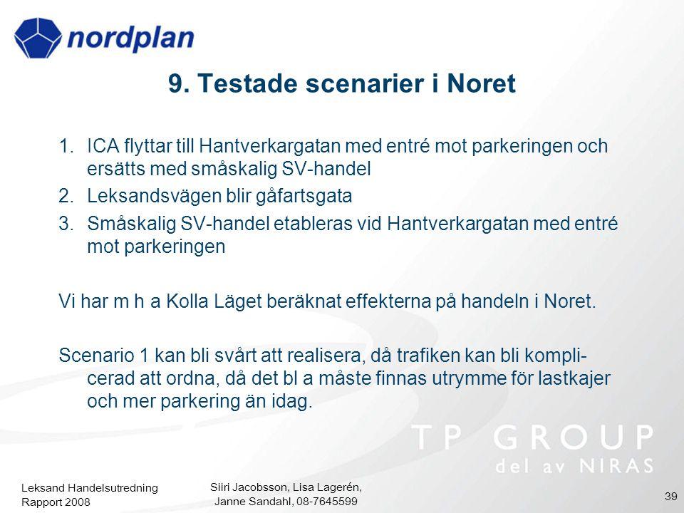 9. Testade scenarier i Noret