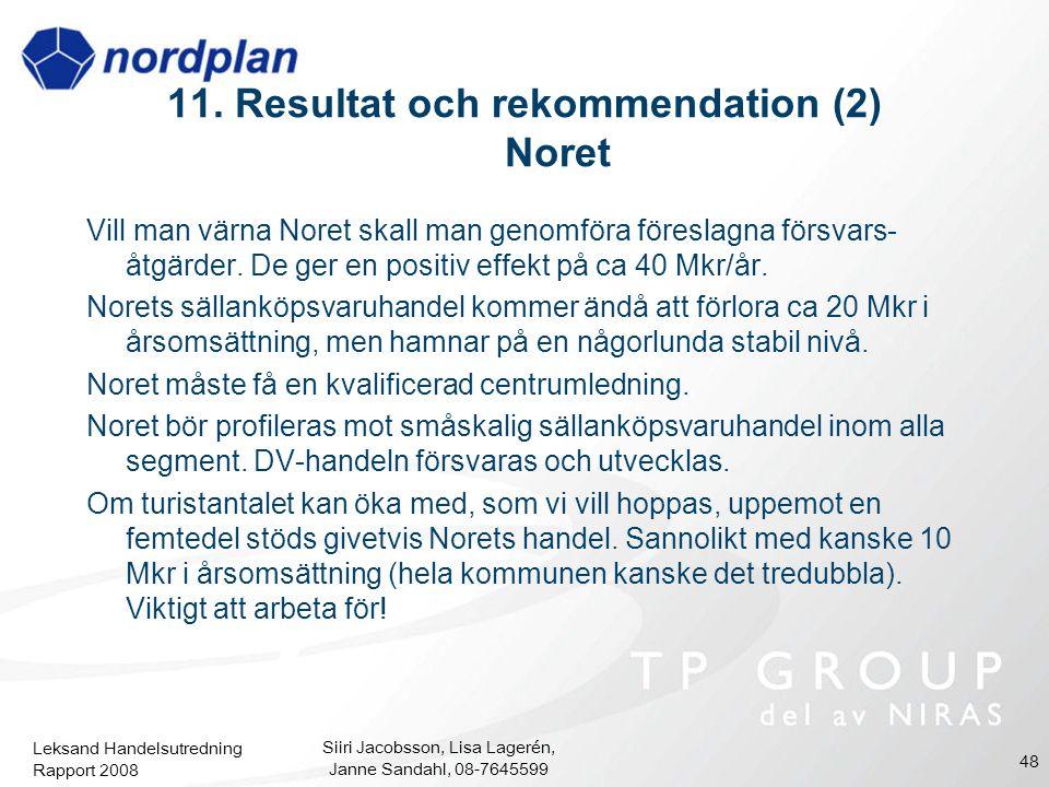 11. Resultat och rekommendation (2) Noret