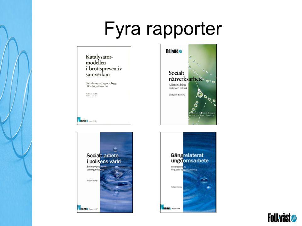 Fyra rapporter Rapporteringarna dels för att avgränsa utvärderingen och dels för att få återkommande punkter för diskussion och reflektion.