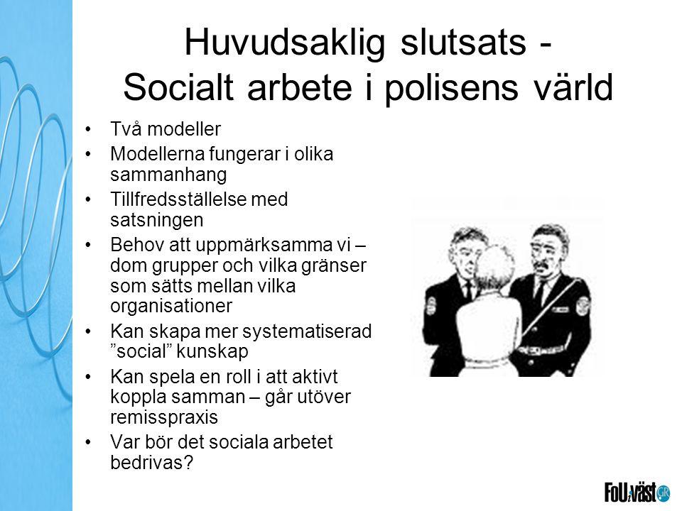 Huvudsaklig slutsats - Socialt arbete i polisens värld