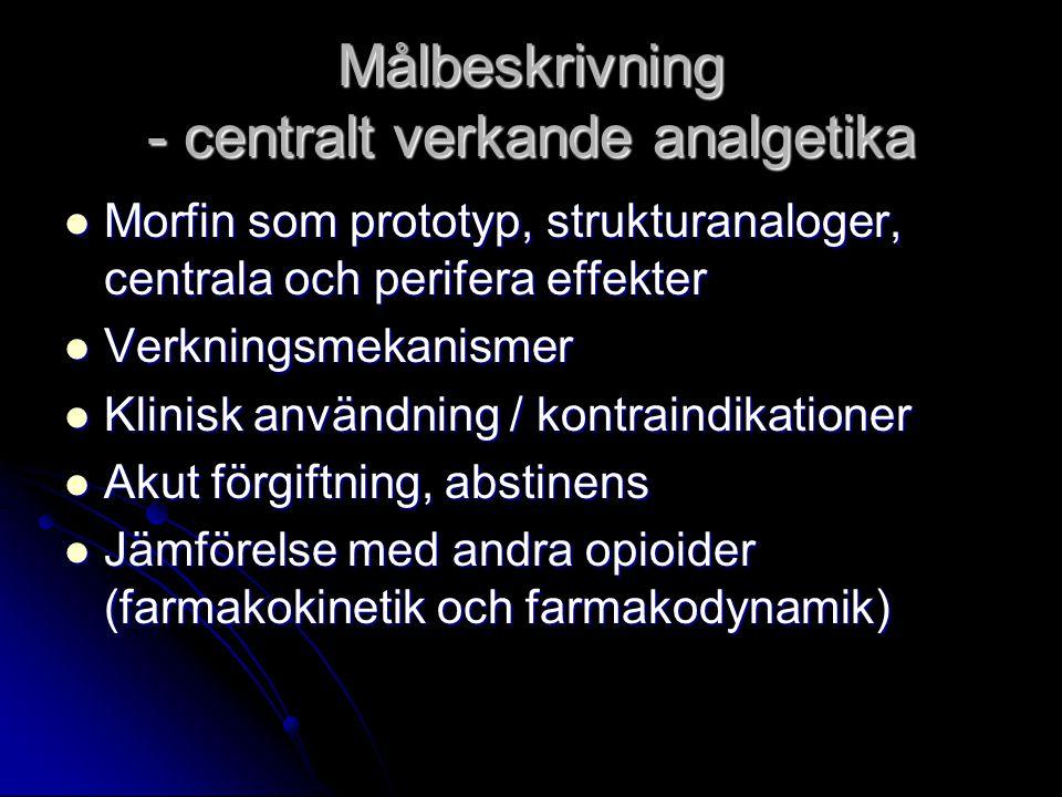 Målbeskrivning - centralt verkande analgetika