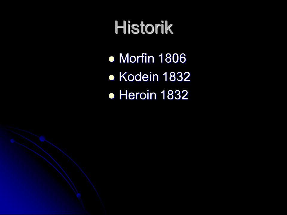 Historik Morfin 1806 Kodein 1832 Heroin 1832