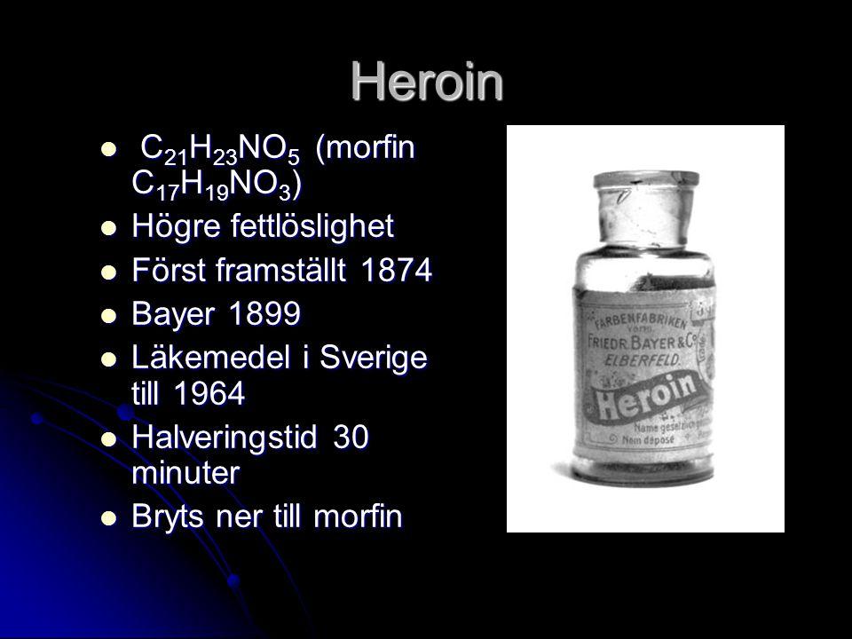 Heroin C21H23NO5 (morfin C17H19NO3) Högre fettlöslighet