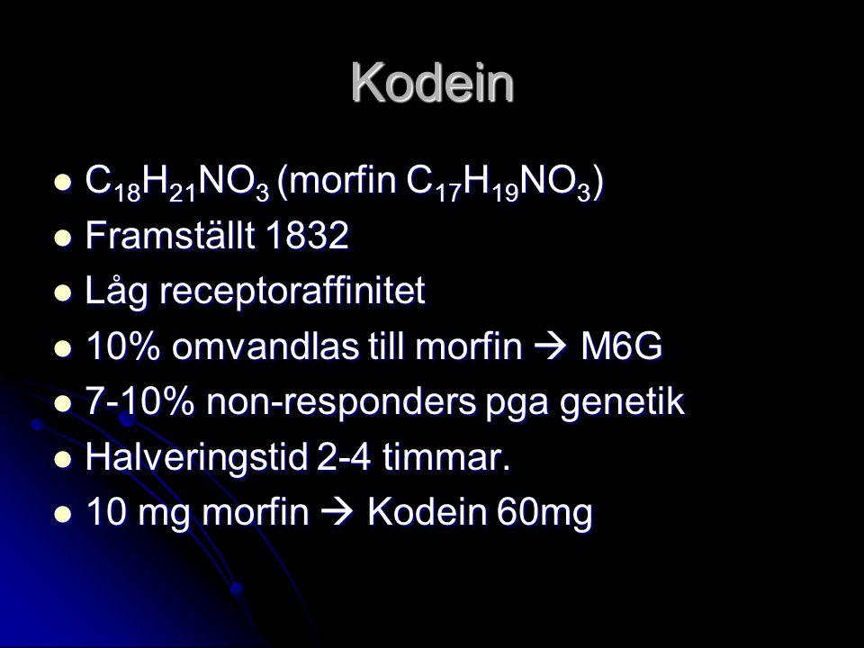 Kodein C18H21NO3 (morfin C17H19NO3) Framställt 1832