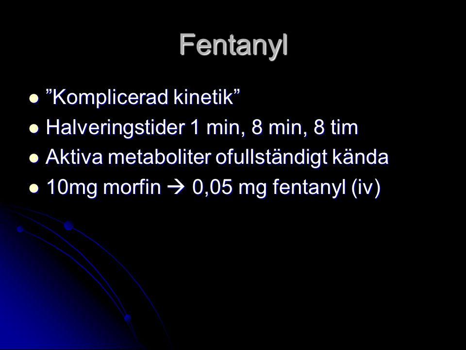 Fentanyl Komplicerad kinetik Halveringstider 1 min, 8 min, 8 tim