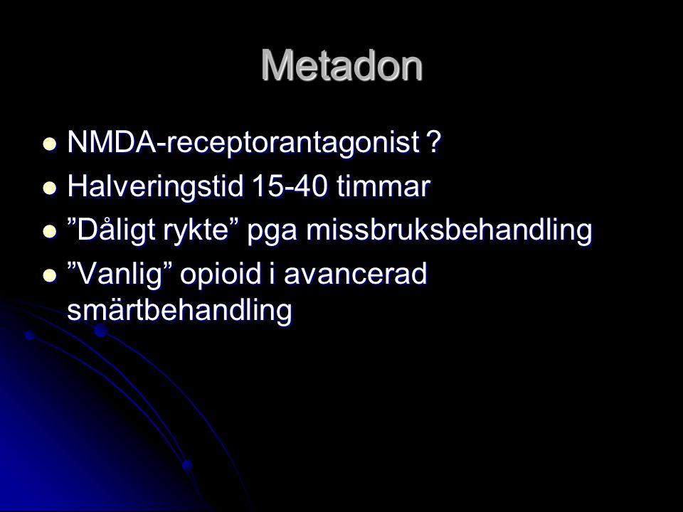 Metadon NMDA-receptorantagonist Halveringstid 15-40 timmar