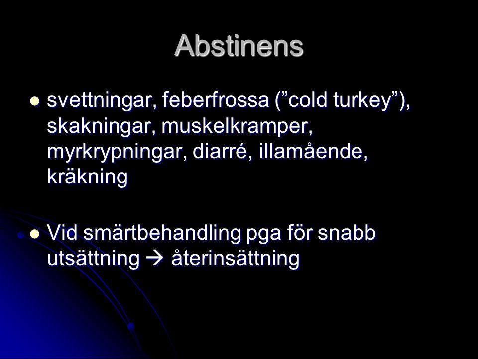 Abstinens svettningar, feberfrossa ( cold turkey ), skakningar, muskelkramper, myrkrypningar, diarré, illamående, kräkning.